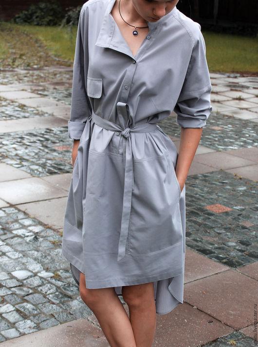 Платья ручной работы. Ярмарка Мастеров - ручная работа. Купить Платье рубашка из хлопка, серое.. Handmade. Серый, стильное платье