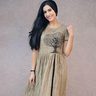 """Одежда ручной работы. Ярмарка Мастеров - ручная работа Платье из льна """"Чудо-дерево"""" вышитый льняной сарафан. Handmade."""