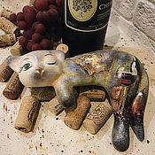 Для дома и интерьера handmade. Livemaster - original item Beaujolais Nouveau (ceramic cat). Handmade.