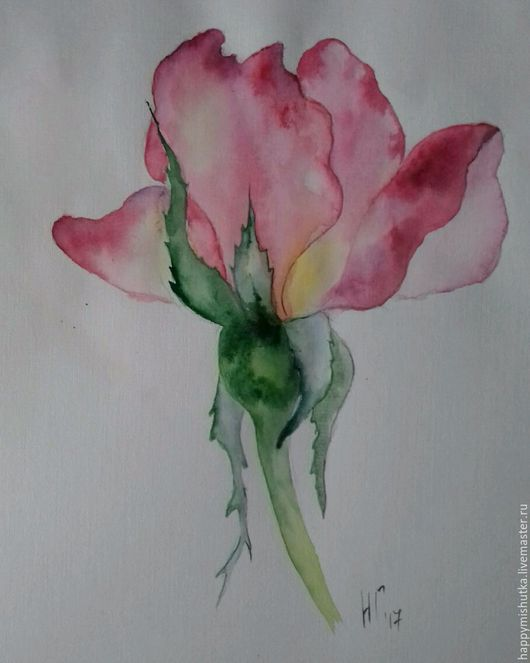 Картины цветов ручной работы. Ярмарка Мастеров - ручная работа. Купить Бутон розы. Handmade. Розовый, темно-розовый