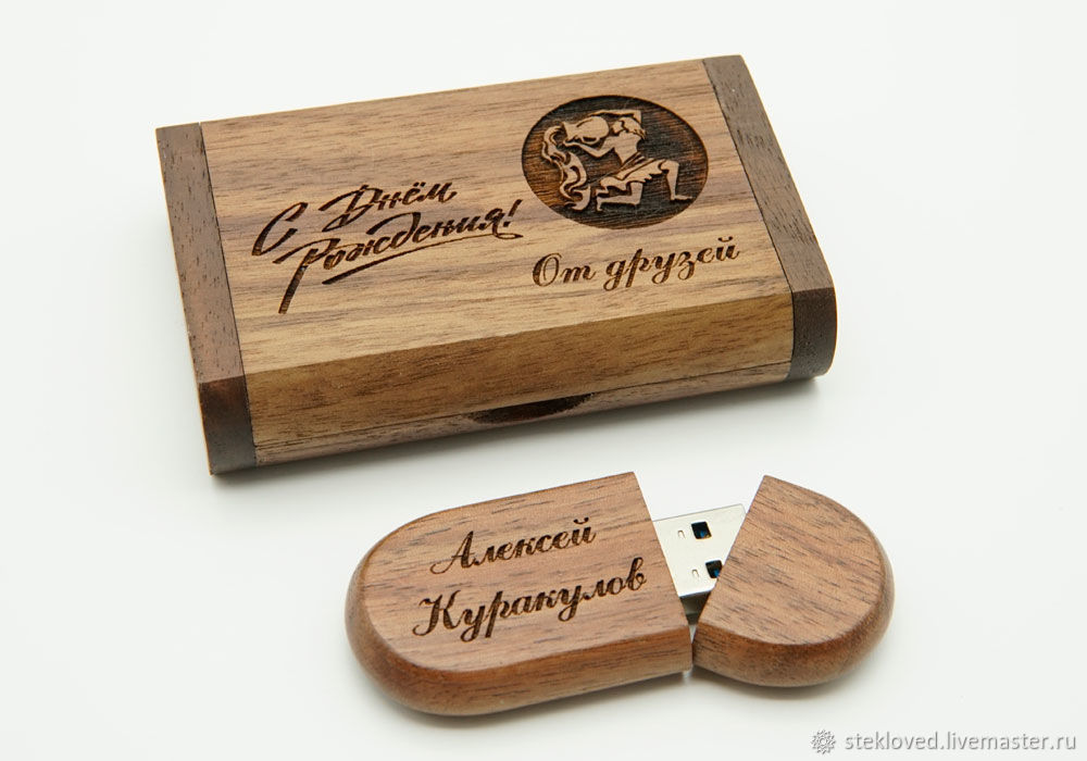 Деревянная флешка, подарок с гравировкой 64 гб, Именные сувениры, Рыбинск,  Фото №1