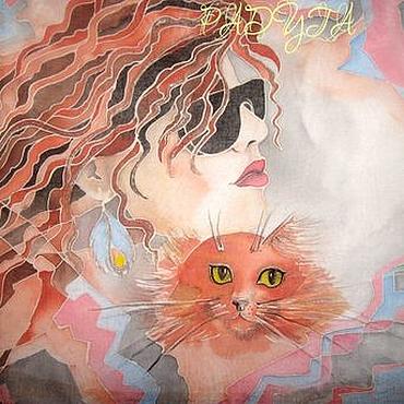"""Одежда ручной работы. Ярмарка Мастеров - ручная работа Туника """"Девушка и кот"""" - батик. Handmade."""