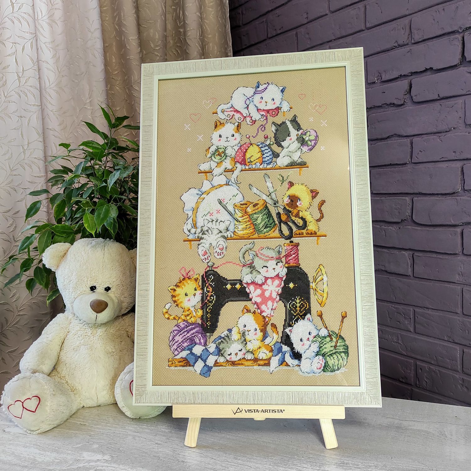 Picture embroidered cross in the nursery Funny kittens, Pictures, Chelyabinsk,  Фото №1