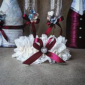 """Свадебный салон ручной работы. Ярмарка Мастеров - ручная работа Подвязка для невесты """"Винный погреб"""". Handmade."""