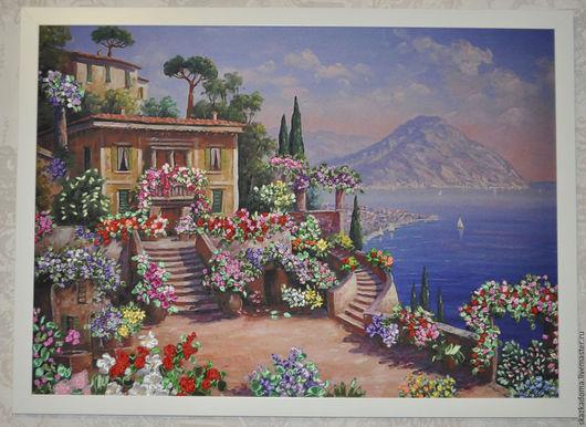 """Пейзаж ручной работы. Ярмарка Мастеров - ручная работа. Купить Картина с вышивкой лентами по принту  """"Море, горы, цеты"""". Handmade."""