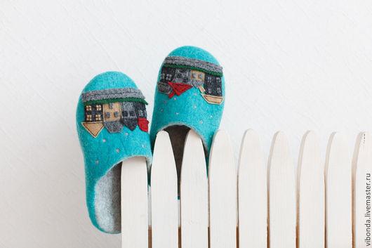 """Обувь ручной работы. Ярмарка Мастеров - ручная работа. Купить Тапочки """"Cказки Андерсена"""". Handmade. Тёмно-бирюзовый, тапочки из шерсти"""