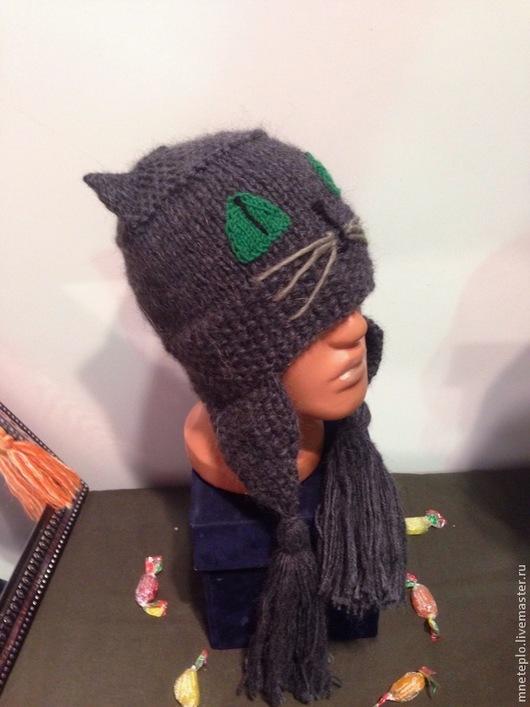 """Шапки ручной работы. Ярмарка Мастеров - ручная работа. Купить Шапка кот """"Темно серый""""(продана). Handmade. Темно-серый"""