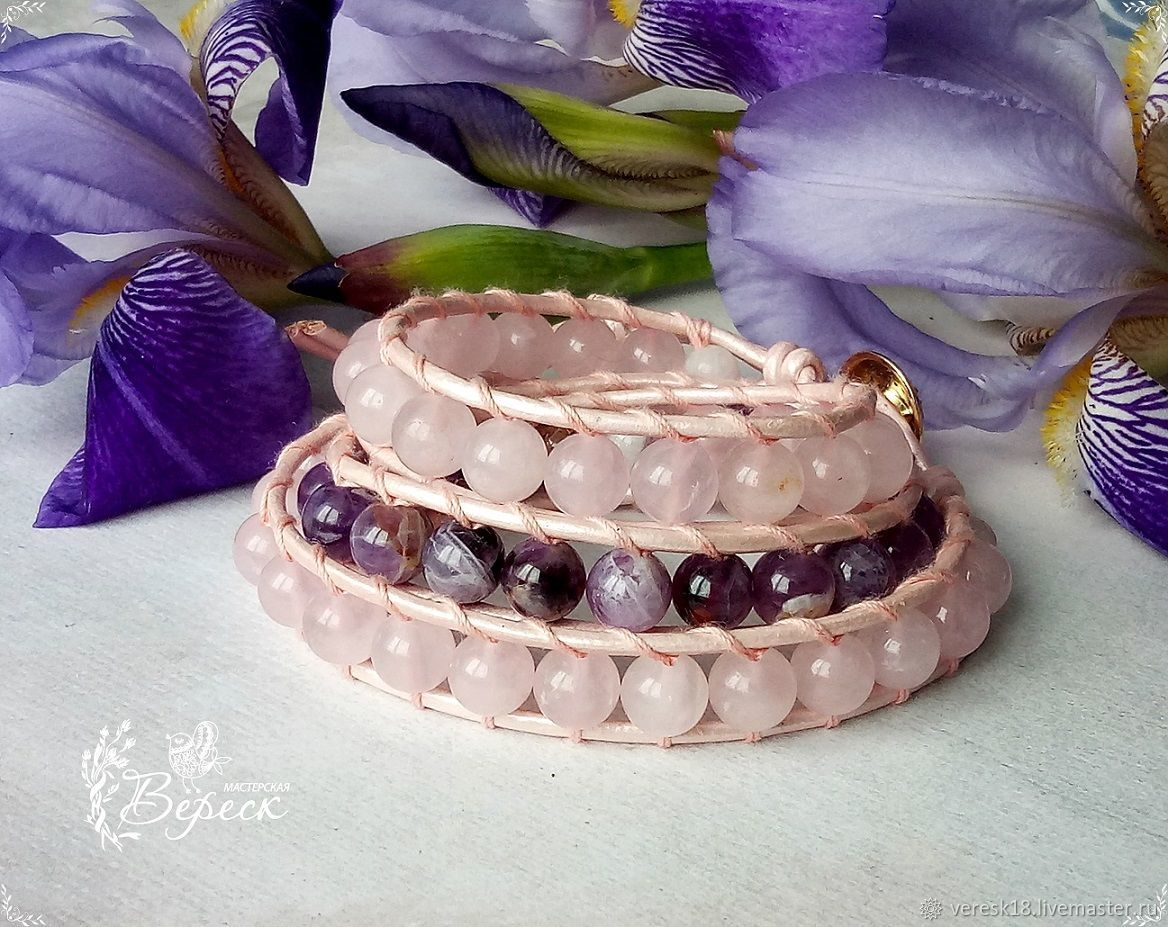 Bracelet made of amethyst and rose quartz in the style of Chan Luu, Amulet, Izhevsk,  Фото №1