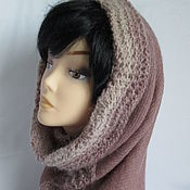 Аксессуары handmade. Livemaster - original item Scarf, pipe ,Snood, bonnet beige double kid mohair. Handmade.