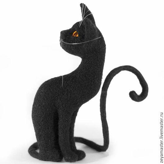 Игрушки животные, ручной работы. Ярмарка Мастеров - ручная работа. Купить Кошка черная Агата. Интерьерная игрушка из шерсти.. Handmade.