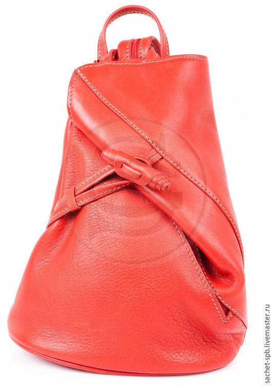 Рюкзаки ручной работы. Ярмарка Мастеров - ручная работа. Купить Рюкзак из кожи Венеция красный. Handmade. Ярко-красный, рюкзачок