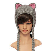 Аксессуары handmade. Livemaster - original item Hat with Cat ears knitted women`s grey. Handmade.