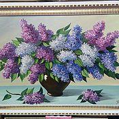 Картины и панно ручной работы. Ярмарка Мастеров - ручная работа Картина маслом Цветы, в рамке 70х50 см. Handmade.