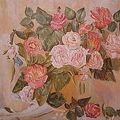 Картины и панно handmade. Livemaster - original item Roses in a glass vase. Nazarov S. V. Oil on canvas. 2019.. Handmade.