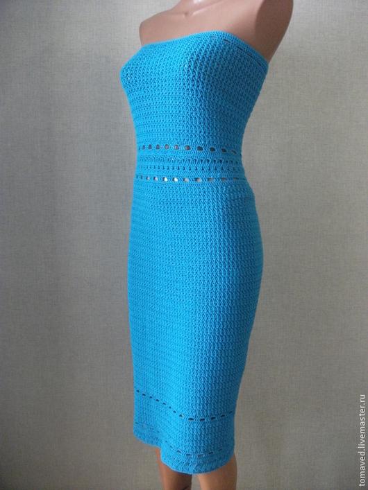Платья ручной работы. Ярмарка Мастеров - ручная работа. Купить Платье вязаное крючком. Handmade. Бирюзовый, платье крючком