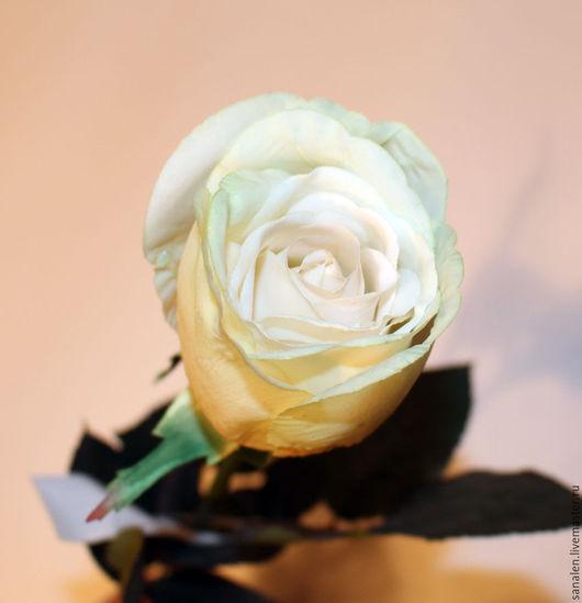 Искусственные растения ручной работы. Ярмарка Мастеров - ручная работа. Купить Роза кремовая в бутоне. Handmade. Белый, искусственная роза