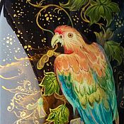 Сумки и аксессуары handmade. Livemaster - original item Parrot Macaw .Spectacle case with miniature paintings. Handmade.