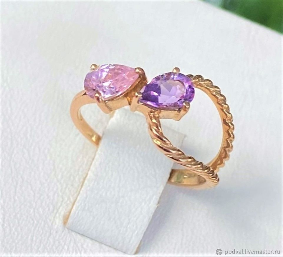 Ring with natural topaz, amethyst 'Duet' (p 16), Rings, Korolev,  Фото №1