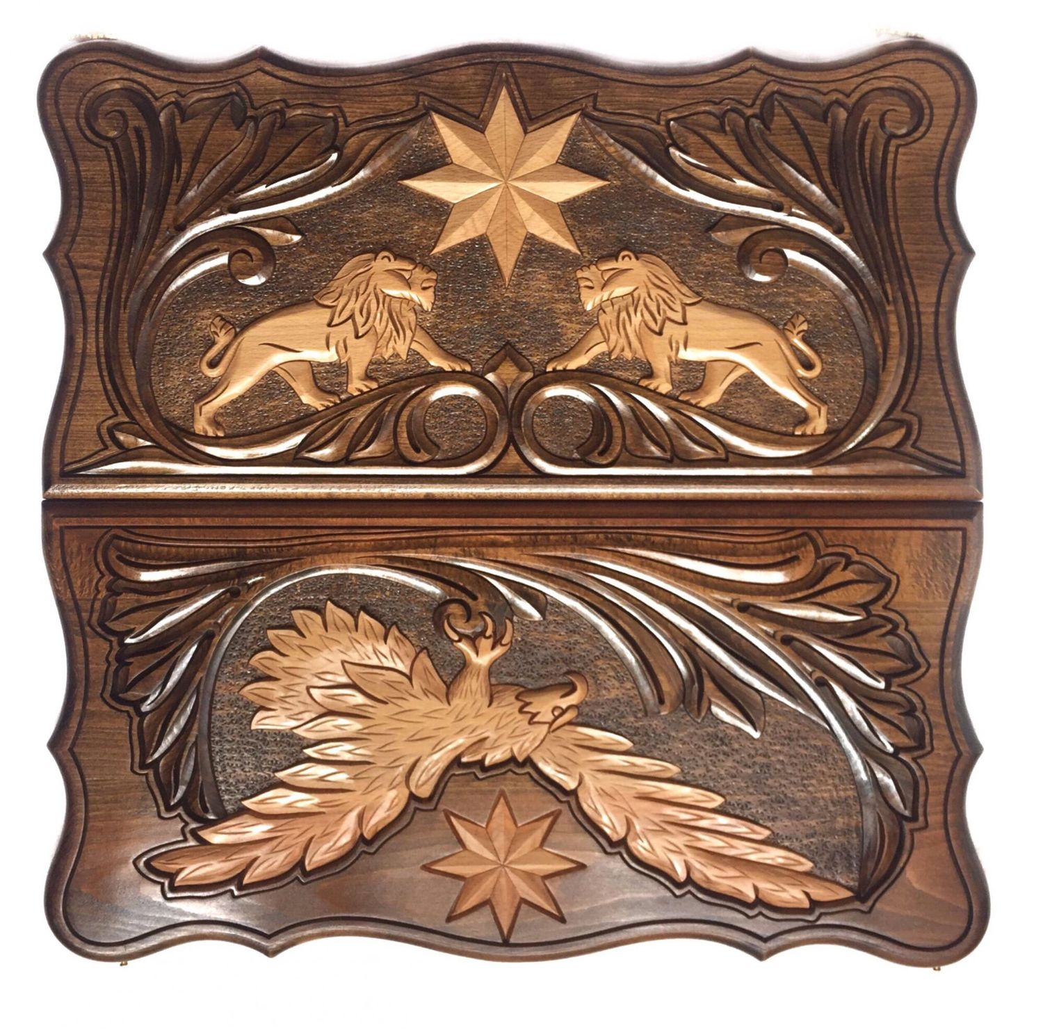 Hand-carved backgammon 'Lions and an eagle' Art. .019, Backgammon checkers, Moscow,  Фото №1