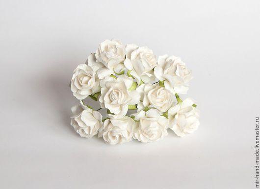 Открытки и скрапбукинг ручной работы. Ярмарка Мастеров - ручная работа. Купить 1131Кудрявые розы 3 см - Белые. Handmade. Белый