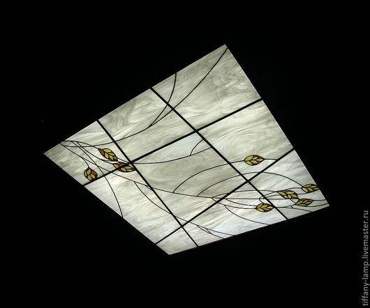 Освещение ручной работы. Ярмарка Мастеров - ручная работа. Купить Витражный потолок.. Handmade. Белый, стекло, серый, припой