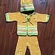 """Одежда для мальчиков, ручной работы. Ярмарка Мастеров - ручная работа. Купить Вязанный комплект """"Ваня"""". Handmade. Желтый, вязанный комплект"""