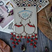 """Украшения ручной работы. Ярмарка Мастеров - ручная работа Медные серьги """"Красные гроздья"""". Handmade."""