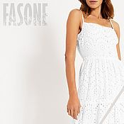 Одежда handmade. Livemaster - original item White cotton dress sewing on the floor white lace Dress. Handmade.