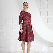 Одежда handmade. Livemaster - original item Dress in a cage red dress. Handmade.