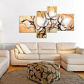"""Картины и панно ручной работы. Ярмарка Мастеров - ручная работа Модульная картина """"Три белых цветка"""". Handmade."""