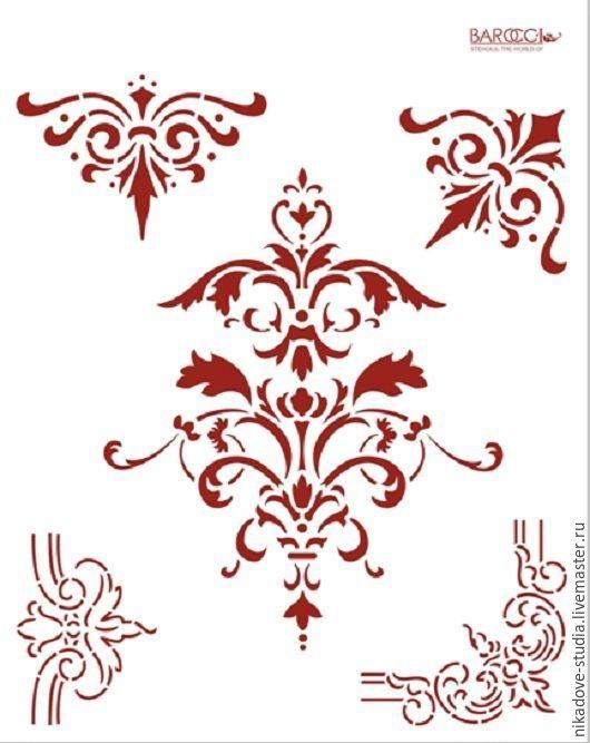 Декупаж и роспись ручной работы. Ярмарка Мастеров - ручная работа. Купить Дамаск викторианский и четыре угла (Л-039) - трафарет barocci. Handmade.