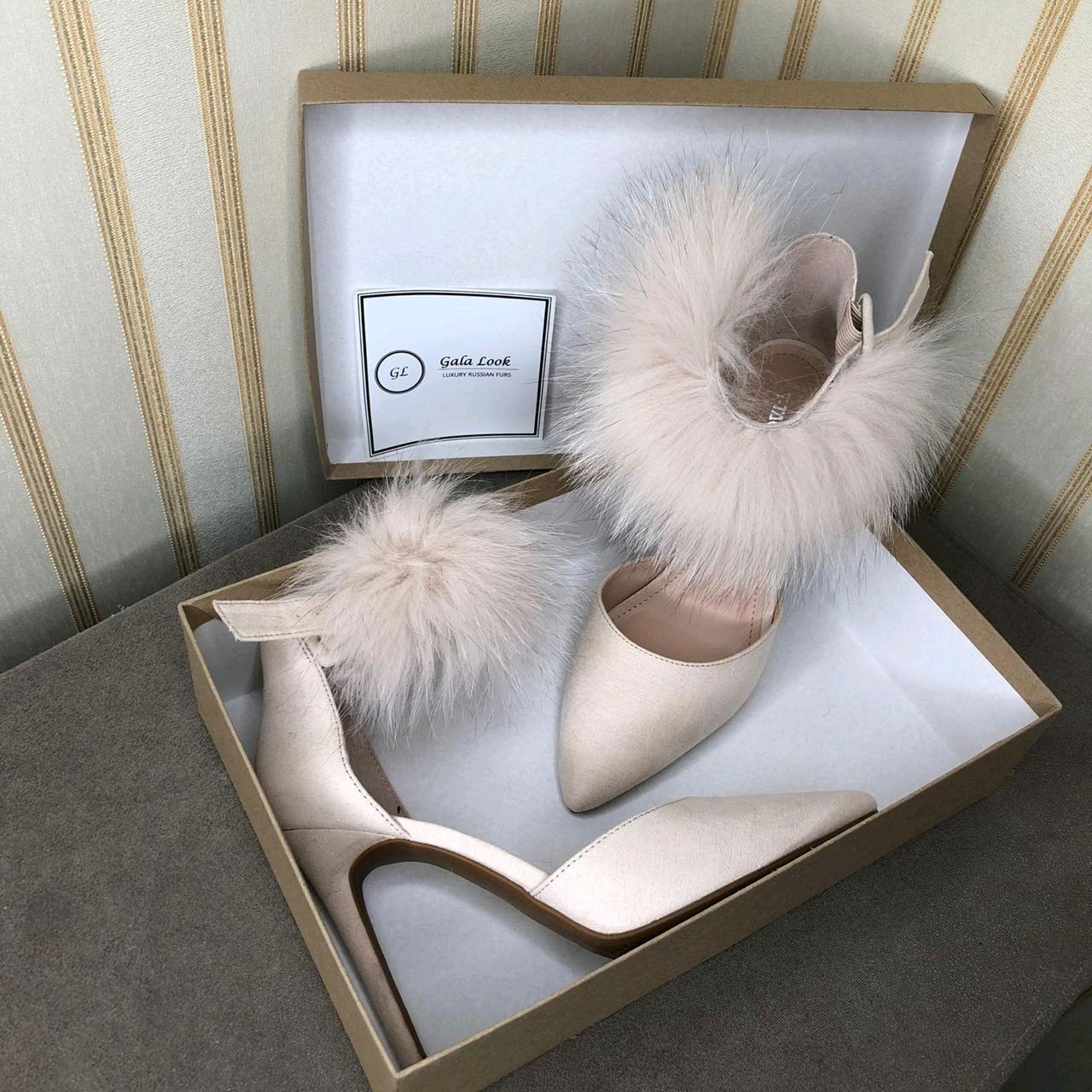 Дизайнерские свадебные вечерние туфли с  натуральным мехом песца, Туфли, Тюмень,  Фото №1