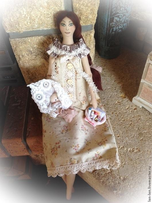 Куклы Тильды ручной работы. Ярмарка Мастеров - ручная работа. Купить Мама с новорожденным, по мотивам Тильды. Handmade. Бежевый