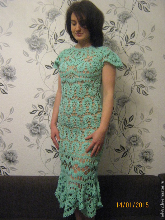 """Платья ручной работы. Ярмарка Мастеров - ручная работа. Купить Платье """"Бирюза"""". Handmade. Бирюзовый, однотонный, ирландское кружево"""