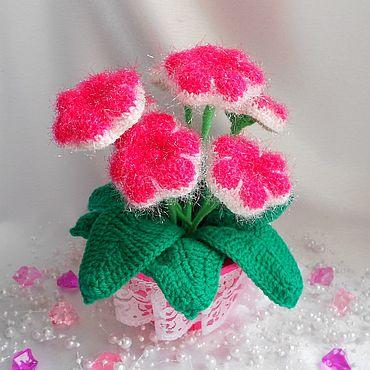Flowers and floristry handmade. Livemaster - original item Knitted gloxinia. Handmade.