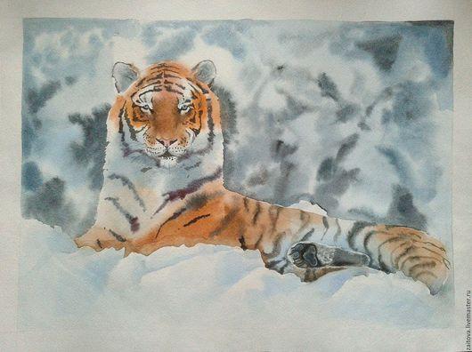 Животные ручной работы. Ярмарка Мастеров - ручная работа. Купить Тигр в снегу. Handmade. Комбинированный, тигр, Снег, А3, акварель