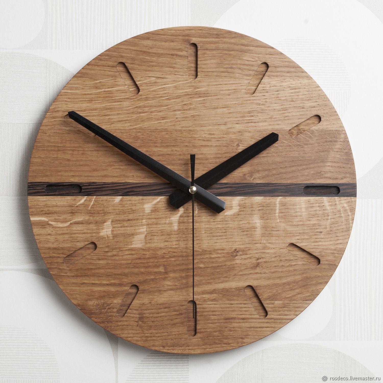 Часы настенные круглые из дуба со вставкой из венге. №28, Часы классические, Раменское,  Фото №1