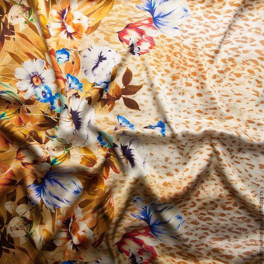 """Шитье ручной работы. Ярмарка Мастеров - ручная работа. Купить Шелк стретч купон """"Леопард,цветы""""(бежевый,коричневый). Handmade. Комбинированный"""