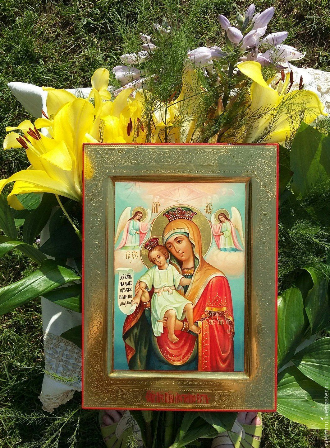 The mother of God is Worthy to eat.The merciful.Hand-minted icon, Icons, St. Petersburg,  Фото №1