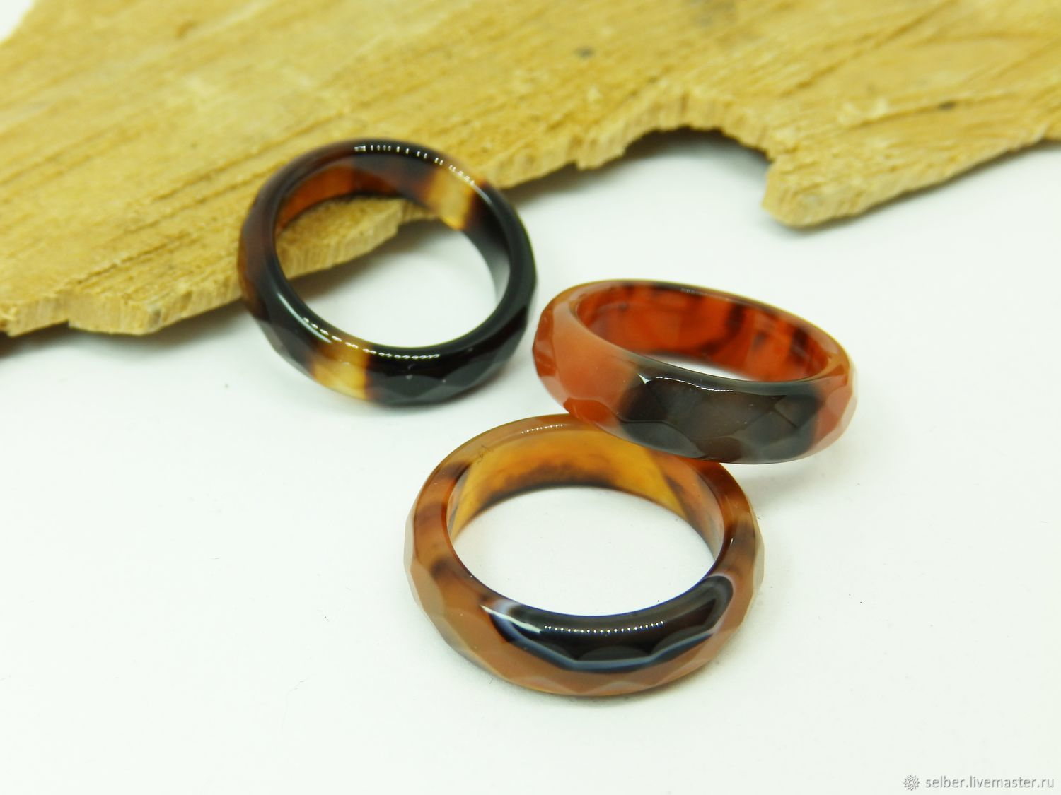 Ring of brown-black agate 17.5 R-R with cut, Rings, Gatchina,  Фото №1