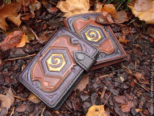 Кошельки и визитницы ручной работы. Ярмарка Мастеров - ручная работа. Купить Портмоне Hearthstone (legendary) Leather Card Wallet. Handmade.