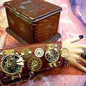 "Украшения handmade. Livemaster - original item ЧАСЫ СТИМПАНК ""GOLD STIMPANK"" КВАРЦЕВЫЕ ЧАСЫ 2 ШТ. КОЖА. Handmade."