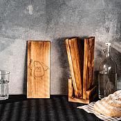 handmade. Livemaster - original item Cutting boards made of Siberian cedar 4 pcs. on a stand RDN8. Handmade.