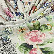 Жаккардовый лен  с цветочным рисунком