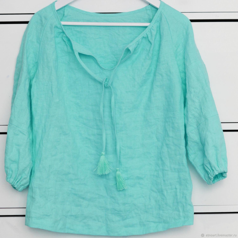 Mint boho blouse made of 100% linen, Blouses, Tomsk,  Фото №1