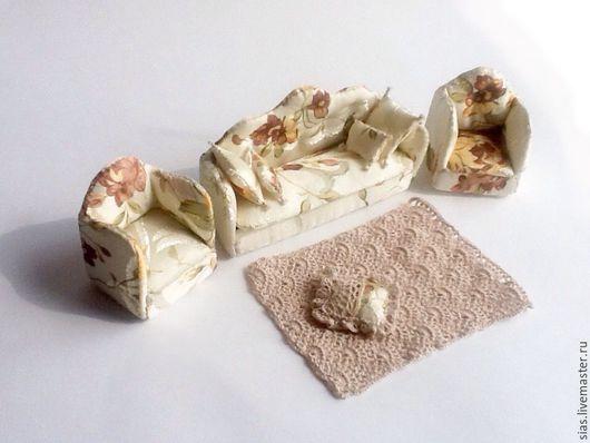 Кукольный дом ручной работы. Ярмарка Мастеров - ручная работа. Купить Набор мебели для кукол Бисквит 1/12. Handmade. Бежевый