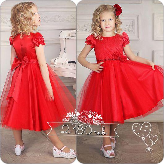 Одежда для девочек, ручной работы. Ярмарка Мастеров - ручная работа. Купить Красное платье для девочек (69). Handmade. Ярко-красный