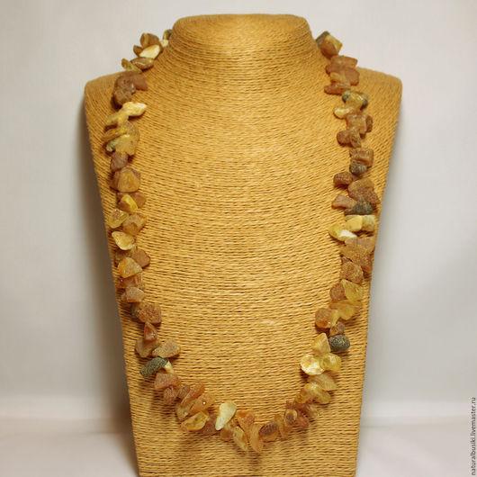 Колье из крупного необработанного янтаря