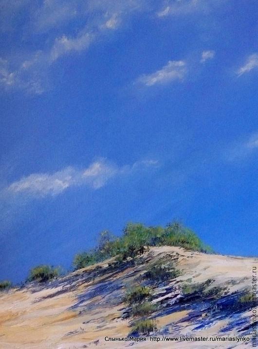 Картина маслом. Испанское небо. Песчаный пляж.