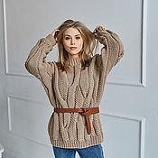 Одежда handmade. Livemaster - original item Pearl sweater with braids in beige. Handmade.
